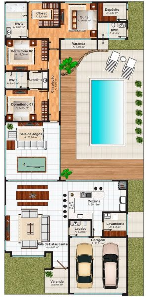 Plantas de casas com piscinas