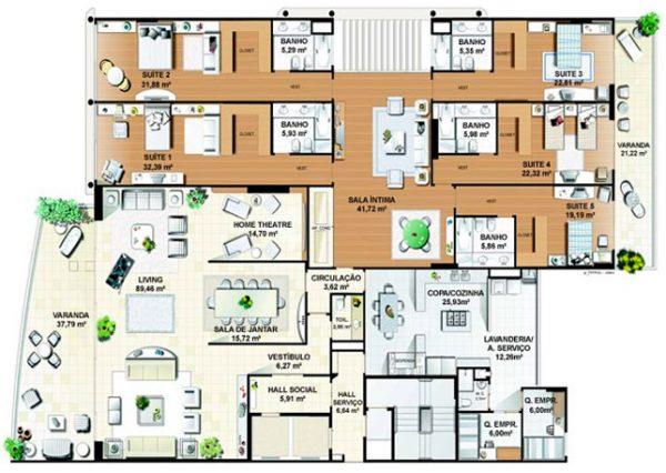 Plantas de casas com 5 quartos