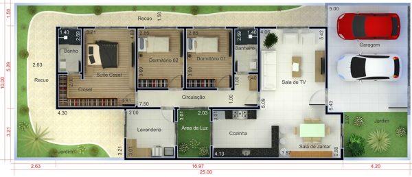 Plantas de casas com 3 quartos e closet