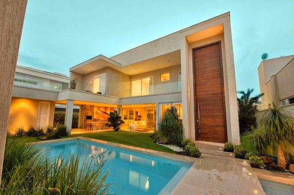Fachadas casa moderna sobrado modelos linhas retas decor for Modelos de piscinas modernas