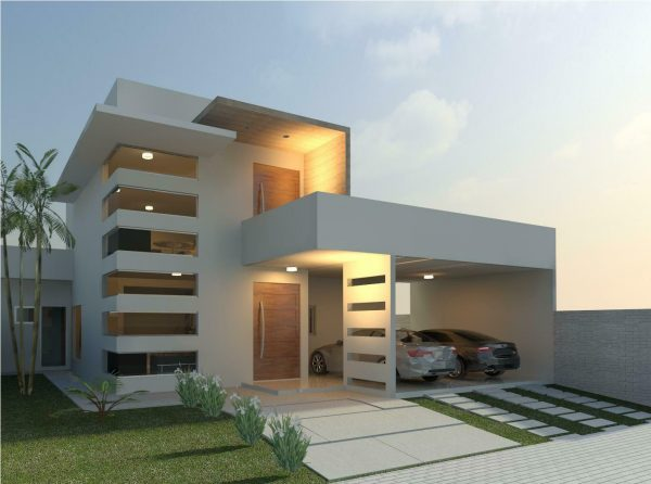 Linda fachada moderna para casas for Casa minimalista rustica