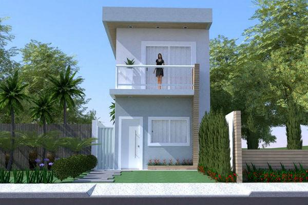 Projetos de sobrados pequenos plantas e fachadas for Diseno apartamentos duplex pequenos