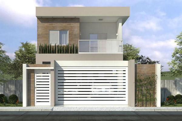 Projetos de sobrados pequenos plantas e fachadas for Casa moderna 80m2