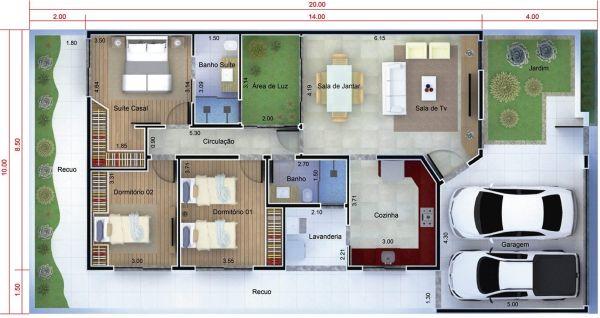 Plantas casas 3 quartos terreno 10x20 for Casa moderna 7x20