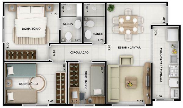 plantas de casas 3 quartos