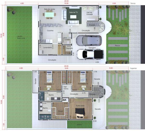 Plantas casas 3 quartos terreno 10x20 for Casa moderna 90m2