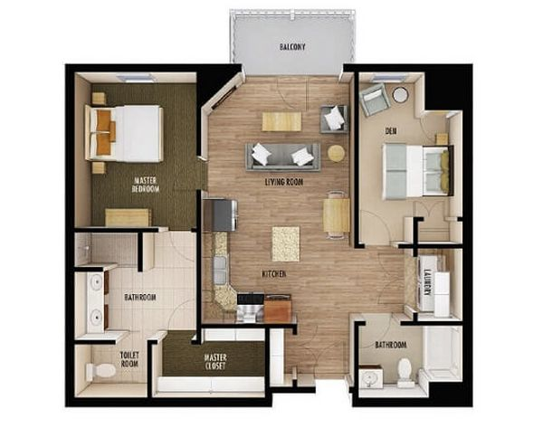 Plantas de casas com 2 quartos e 1 su te for Casa moderna 2 andares 3 quartos