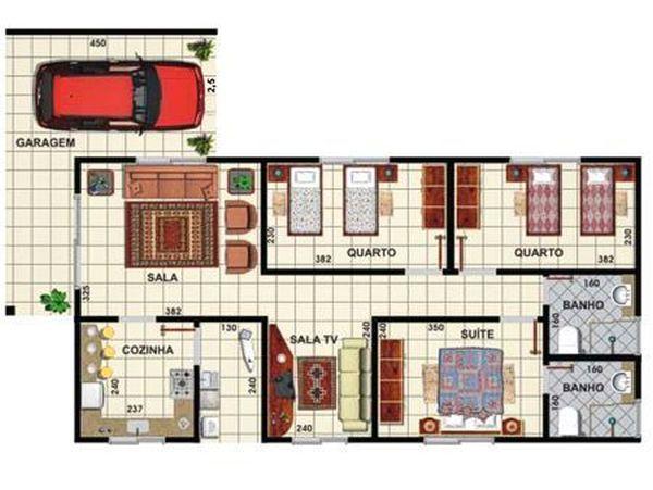 casas com 3 quartos e suíte