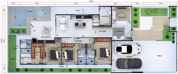 casas com 3 suítes