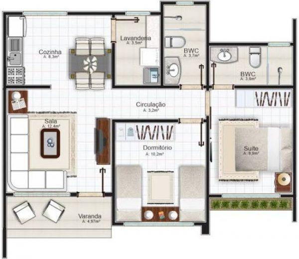 planta casa 2 quartos e cozinha americana