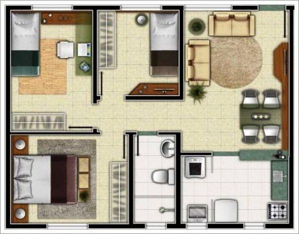 plantas 3 quartos