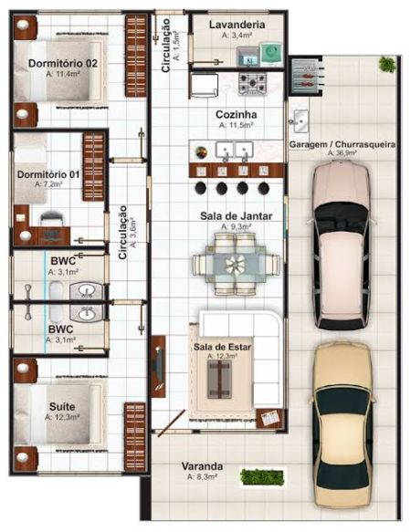 planta 3 quartos e 2 banheiros