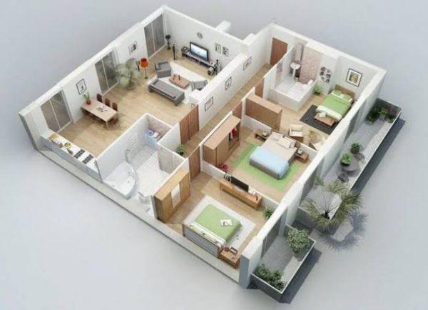 planta 3 quartos com cozinha americana