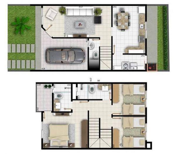 planta de casa 5x15