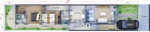 planta casa 5x25 metros
