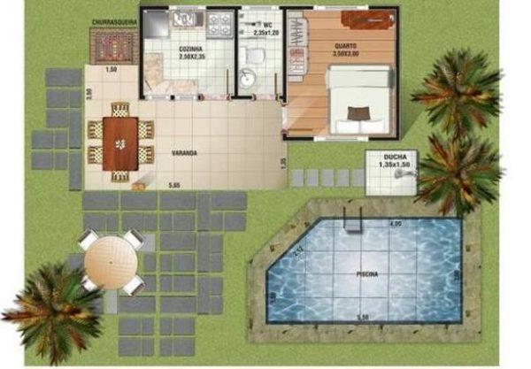 planta casa de sítio com varanda