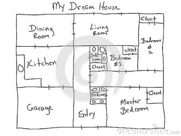 esboco de desenho de planta de casa