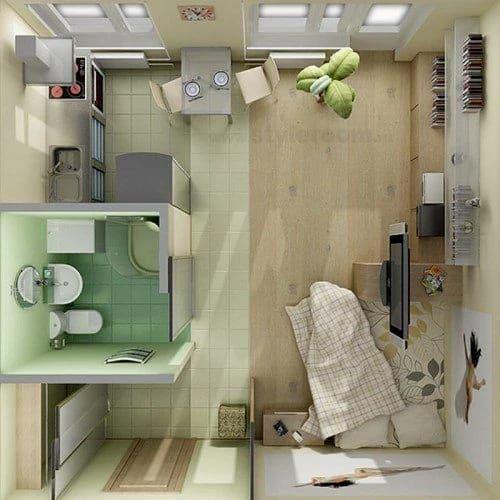 planta de casa de solteiro 1 comodo