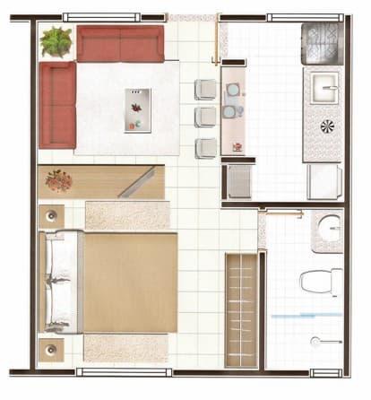 planta de casa de solteiro com sala