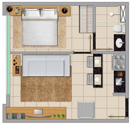 planta de casa de solteiro quadrada