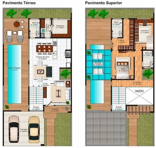 projeto de casa lateral de 2 pavimentos