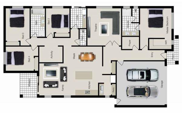 Plantas de Casas com 4 quartos e 2 banheiros