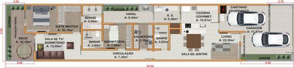 Plantas de Casas 6x30 com Garagem